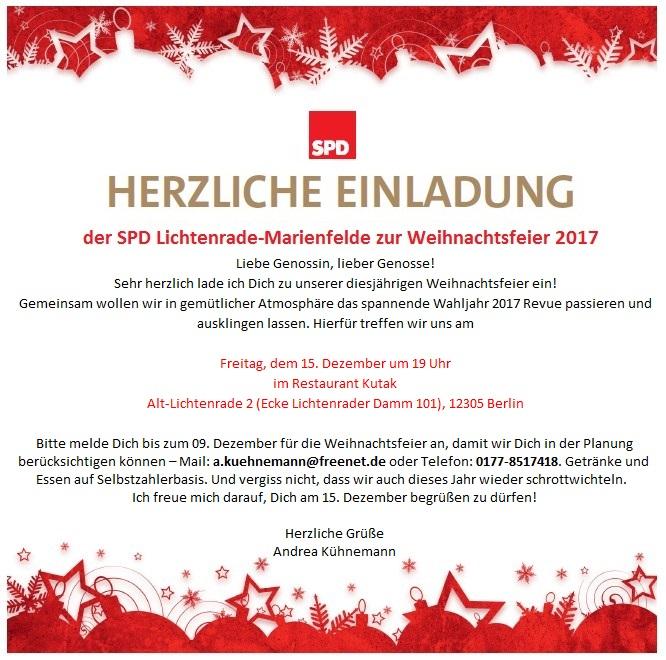 Einladung Zur Weihnachtsfeier.Einladung Zur Weihnachtsfeier 2017 Spd Lichtenrade Marienfelde